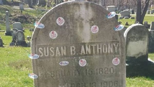 Hundreds cover Susan B. Anthony's grave with 'I voted' stickers