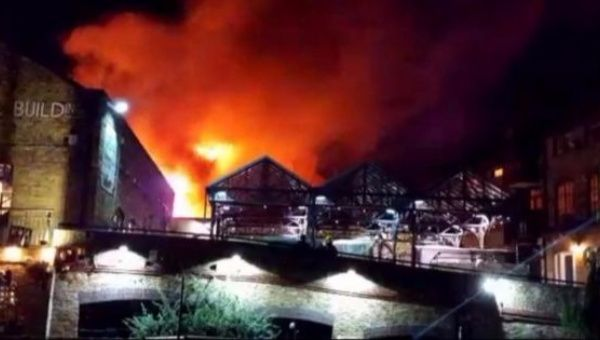 Fire breaks out in London's popular Camden Market