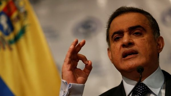 Tarek William Saab speaks during a news conference in Caracas Venezuela