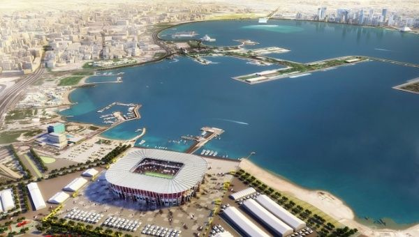 Qatar unveils World Cup stadium made from shipping containers