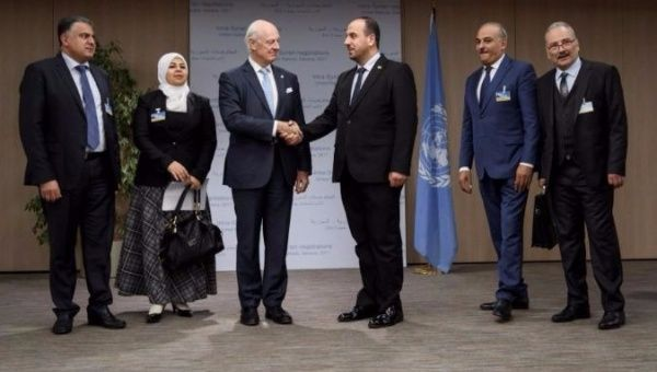 Syria's Delegation Held Talks with de Mistura in Geneva