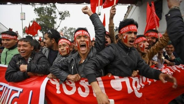 Supporters of the Unified Communist Party of Nepal during a rally marking the 17th anniversary of the