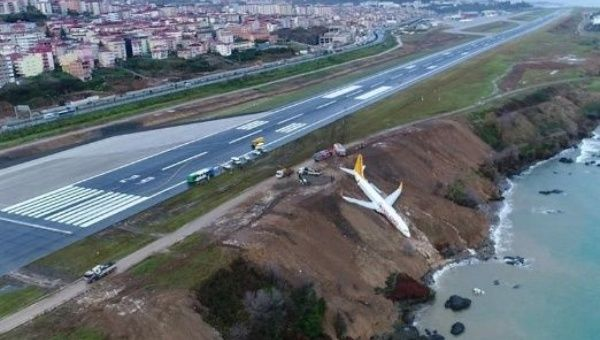 Jet comes to stop on cliff, almost  lands in sea in Turkey