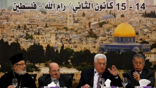 Palestinian President Mahmoud Abbas speaks during the meeting of the Palestinian Central Council in the West Bank city of Ramallah