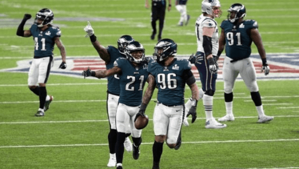 Philadelphia Eagles defensive end Derek Barnett and cornerback Patrick Robinson celebrate after his recovered fumble during the fourth quarter in Super Bowl LII at U.S. Bank Stadium