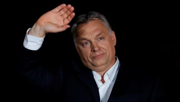 Hungarian Prime Minister Viktor Orban addresses the supporters after the announcement of the partial results of parliamentary election in Budapest Hungary