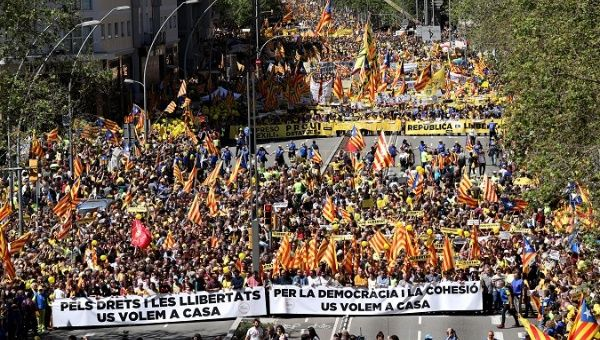 Pro-independence supporters attend a demonstration in Barcelona Spain