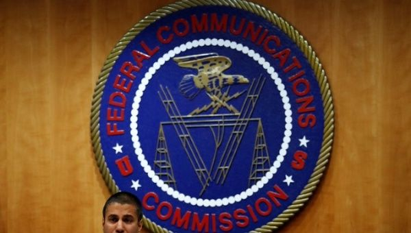 Chairman Ajit Pai speaks ahead of the vote on the repeal of so called net neutrality rules at the Federal Communications Commission in Washington U.S