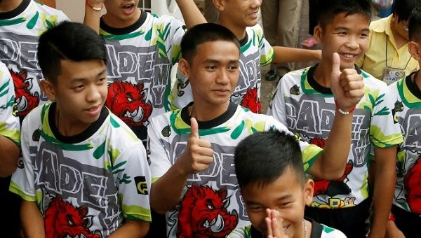 Thai youth soccer team speaks with reporters about cave rescue