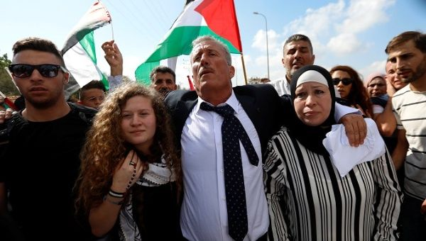 Palestinian protest icon Tamimi released from Israeli prison