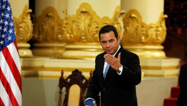 Guatemala's President Jimmy Morales gestures after a meeting with acting Secretary of U.S. Homeland Security Kevin McAleenan unseen in Guatemala City Guatemala