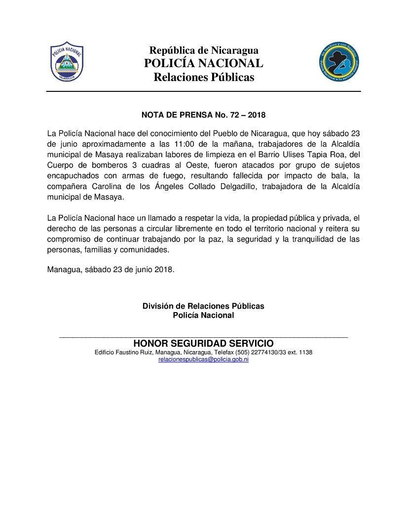 Bebé murió en Nicaragua por impacto de bala en la cabeza