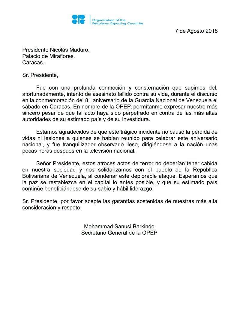OPEP se solidariza con presidente de Venezuela tras atentado