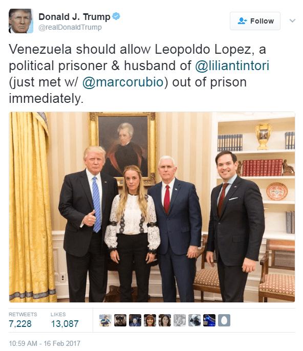 Trump tweets battle lines at Venezuela