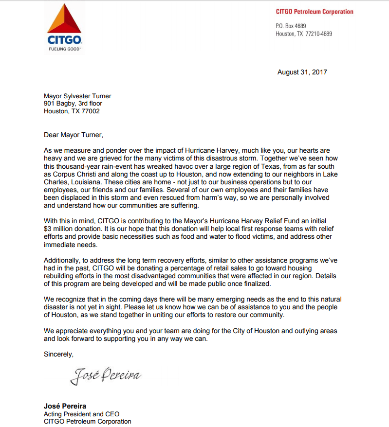 Letter from CITGO to the Mayor of Houston