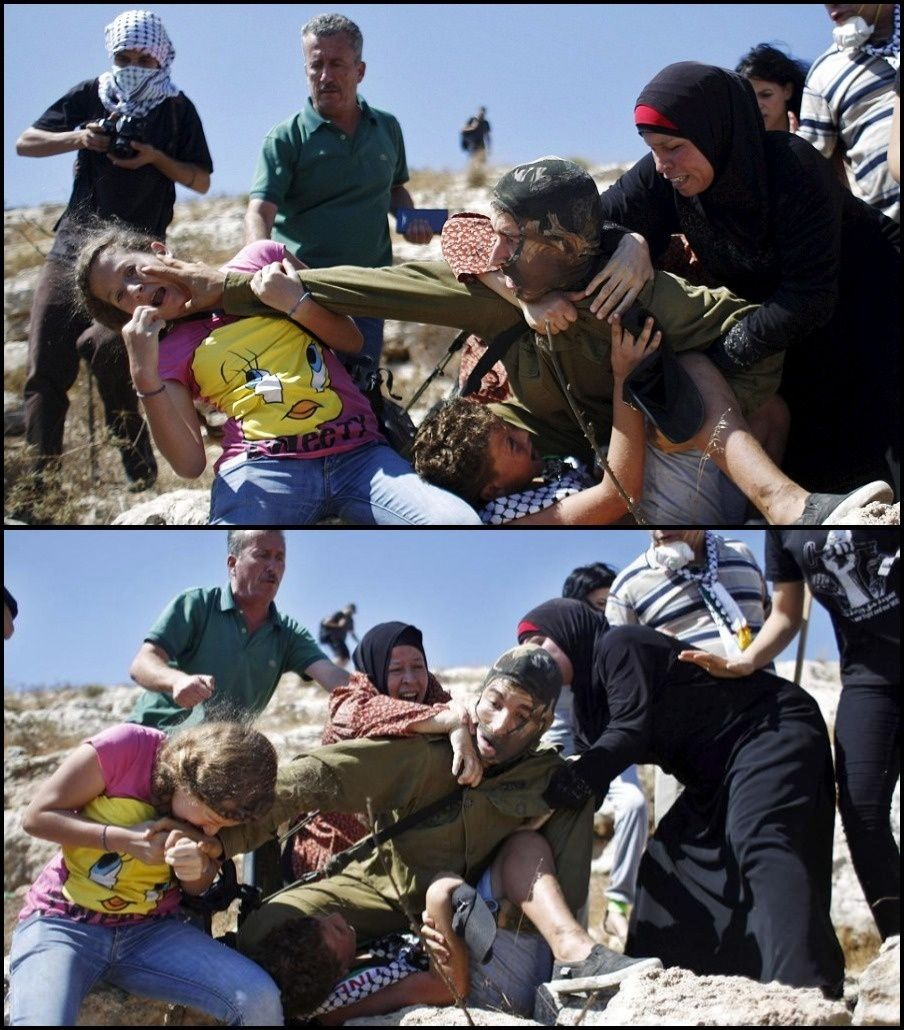 Tamimi women and children of Nabi Saleh unmask armed Israeli soldier attempting to capture their child