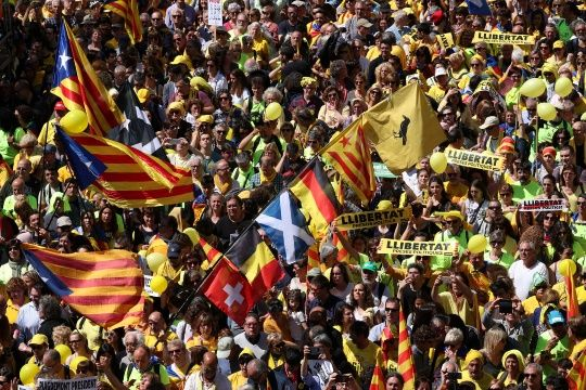 Demonstrators flood Barcelona in support of jailed separatist leaders
